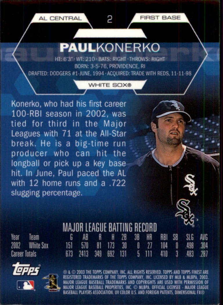 2003 Finest #2 Paul Konerko back image