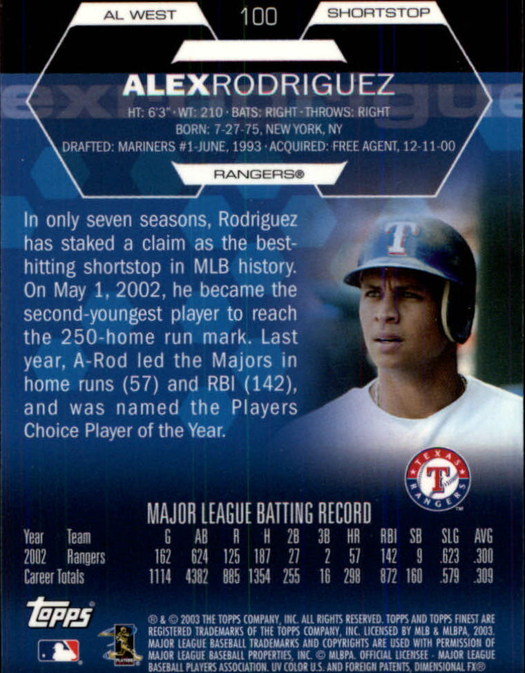 2003 Finest #100 Alex Rodriguez back image