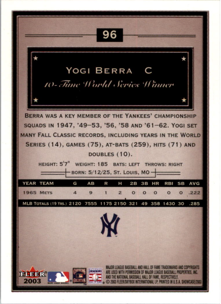 2003 Fleer Showcase #96 Yogi Berra back image
