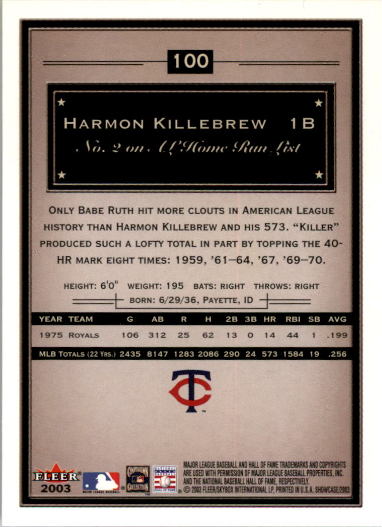 2003 Fleer Showcase #100 Harmon Killebrew back image
