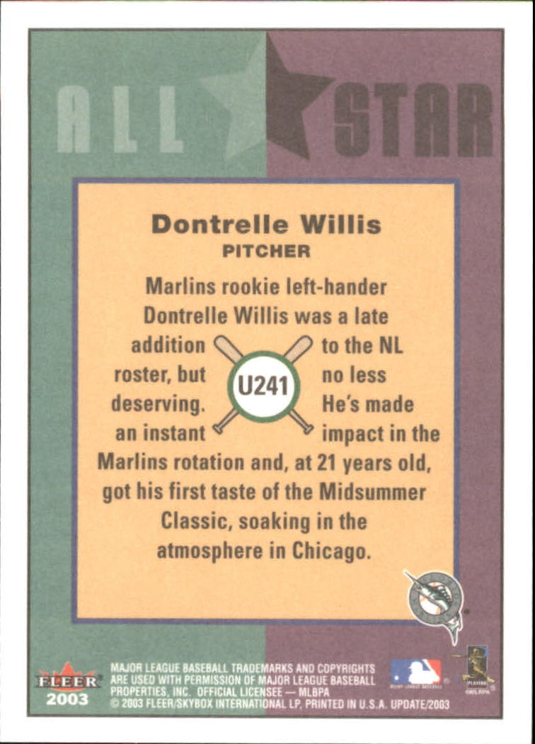 2003 Fleer Tradition Update #241 Dontrelle Willis AS back image