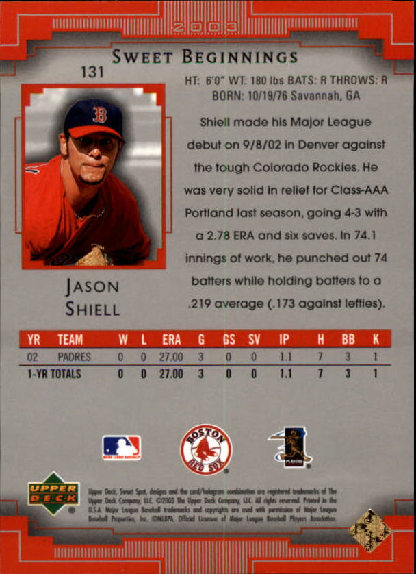 2003 Sweet Spot #131 Jason Shiell SB RC back image