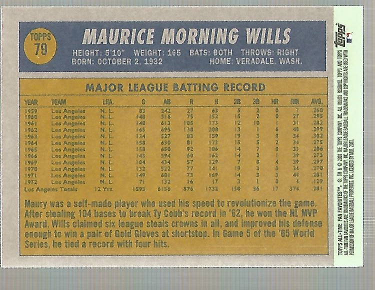 2003 Topps All-Time Fan Favorites #79 Maury Wills back image