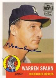 2003 Topps All-Time Fan Favorites Archives Autographs #WS Warren Spahn D