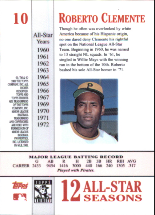 2003 Topps Tribute Perennial All-Star #10 Roberto Clemente back image