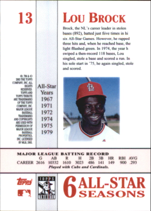 2003 Topps Tribute Perennial All-Star #13 Lou Brock back image