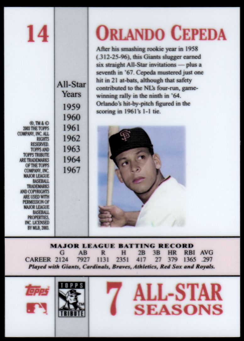 2003 Topps Tribute Perennial All-Star #14 Orlando Cepeda back image