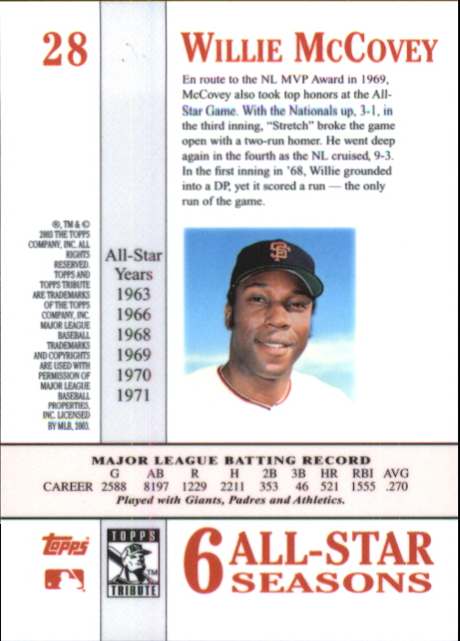 2003 Topps Tribute Perennial All-Star #28 Willie McCovey back image