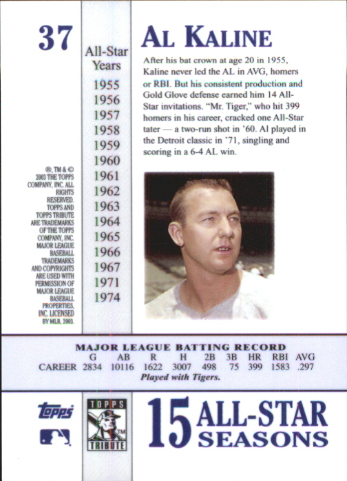 2003 Topps Tribute Perennial All-Star #37 Al Kaline back image