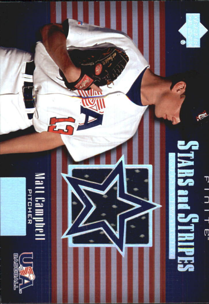 2003 Upper Deck Finite Stars and Stripes Game Jersey #J7 Matt Campbell