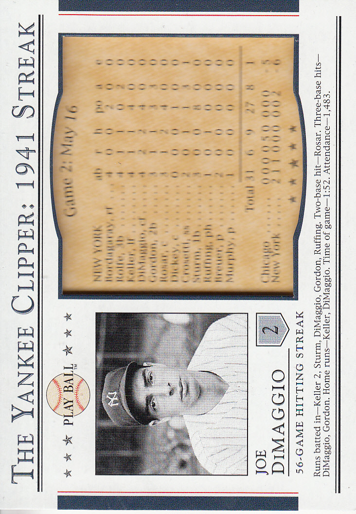 2003 Upper Deck Play Ball Yankee Clipper 1941 Streak #S2 Joe DiMaggio 41