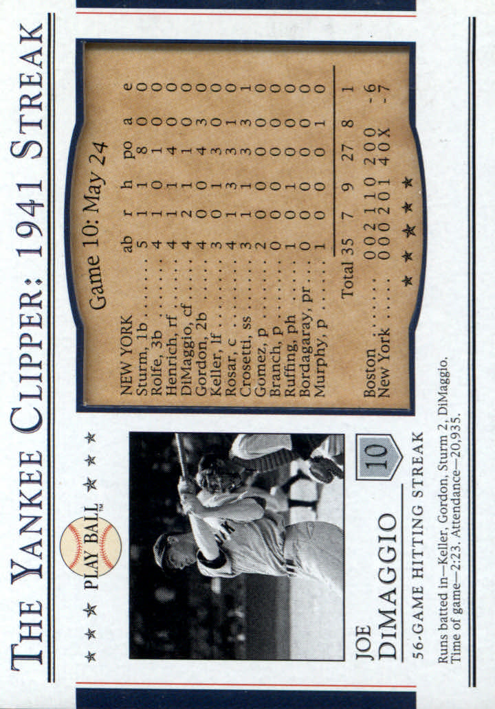 2003 Upper Deck Play Ball Yankee Clipper 1941 Streak #S10 Joe DiMaggio 41