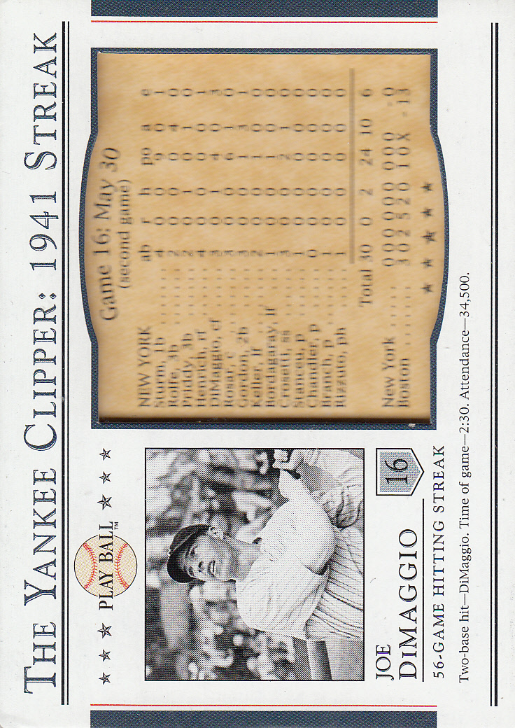2003 Upper Deck Play Ball Yankee Clipper 1941 Streak #S16 Joe DiMaggio 41