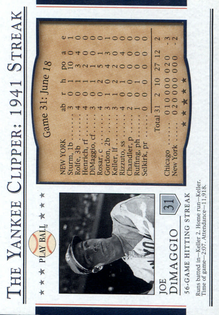 2003 Upper Deck Play Ball Yankee Clipper 1941 Streak #S31 Joe DiMaggio 41
