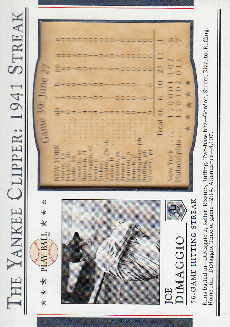 2003 Upper Deck Play Ball Yankee Clipper 1941 Streak #S39 Joe DiMaggio 41