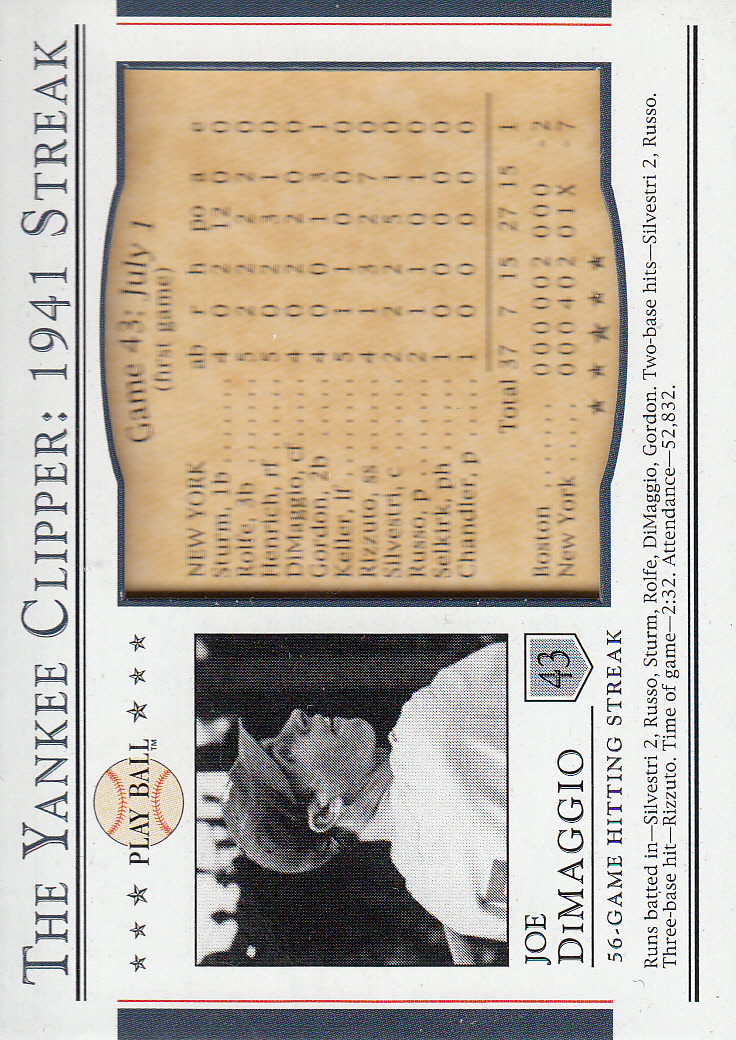 2003 Upper Deck Play Ball Yankee Clipper 1941 Streak #S43 Joe DiMaggio SI