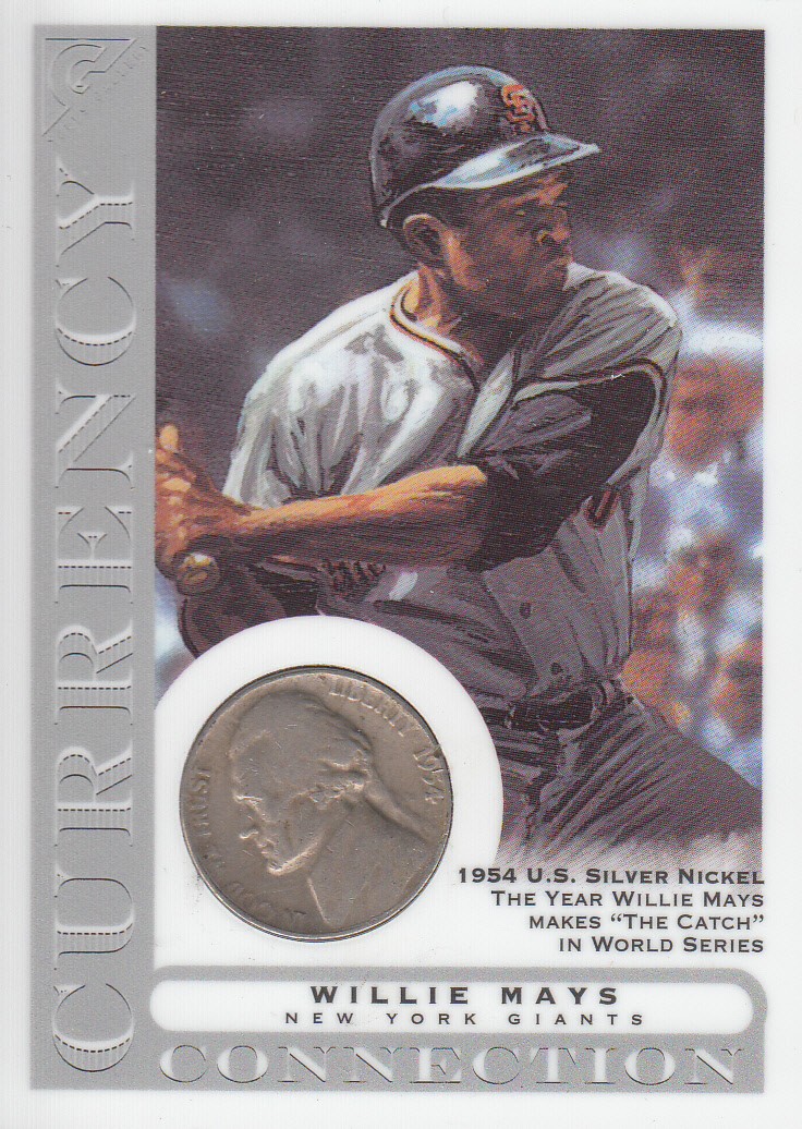 2003 Topps Gallery HOF Currency Connection Coin Relics #WMA W.Mays 1954 Nickel B
