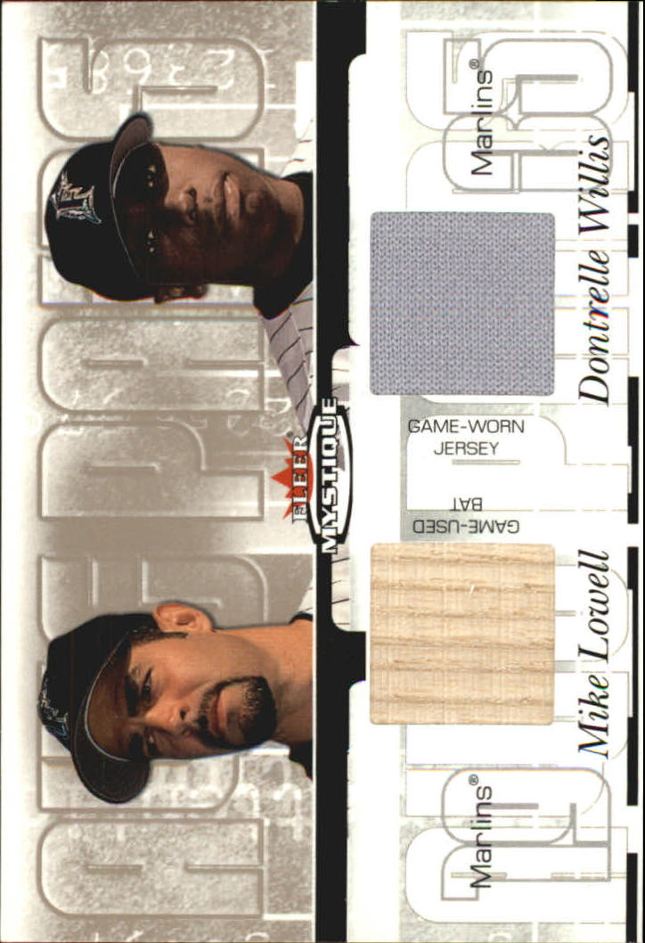2003 Fleer Mystique Awe Pairs Memorabilia #DWML Dontrelle Willis Jsy/Mike Lowell Bat