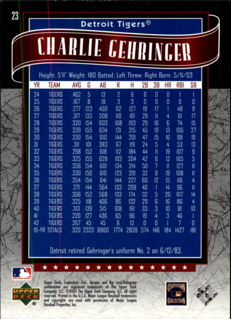 2003 SP Legendary Cuts #23 Charlie Gehringer back image