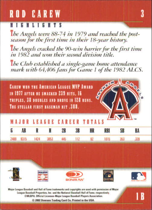 2003 Donruss Team Heroes #3 Rod Carew Angels back image