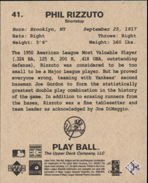 2003 Upper Deck Play Ball 1941 Series #41 Phil Rizzuto back image