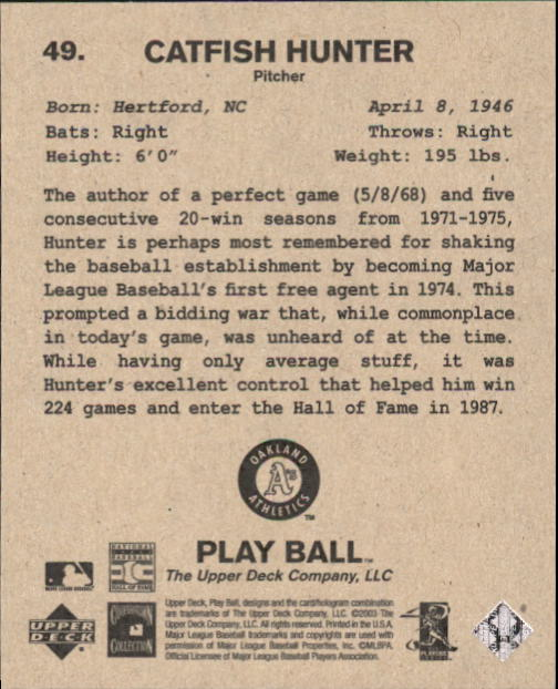 2003 Upper Deck Play Ball 1941 Series #49 Catfish Hunter back image
