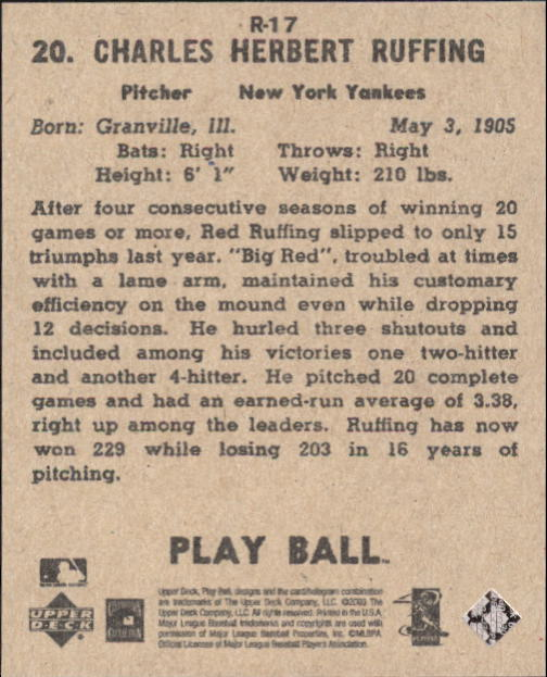 2003 Upper Deck Play Ball 1941 Reprints #R17 Red Ruffing back image