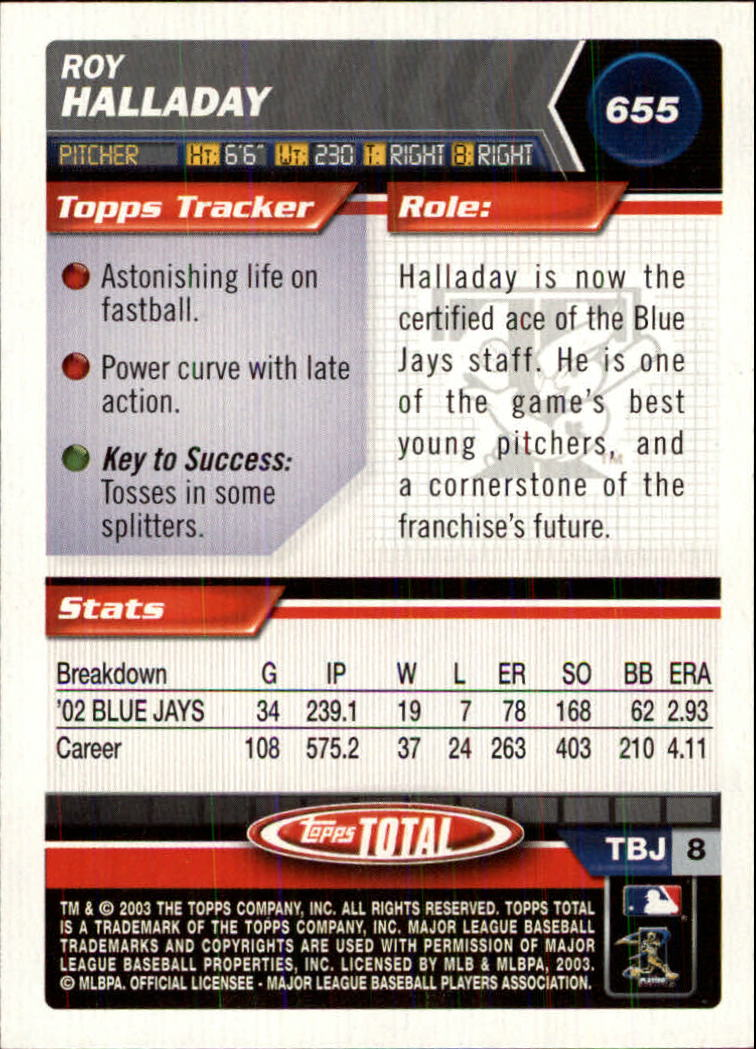 2003 Topps Total Silver #655 Roy Halladay back image
