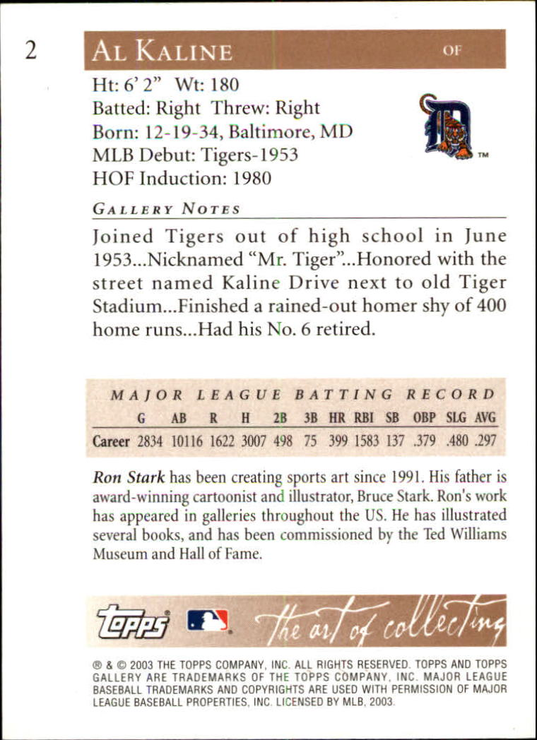2003 Topps Gallery HOF #2 Al Kaline Stripes back image