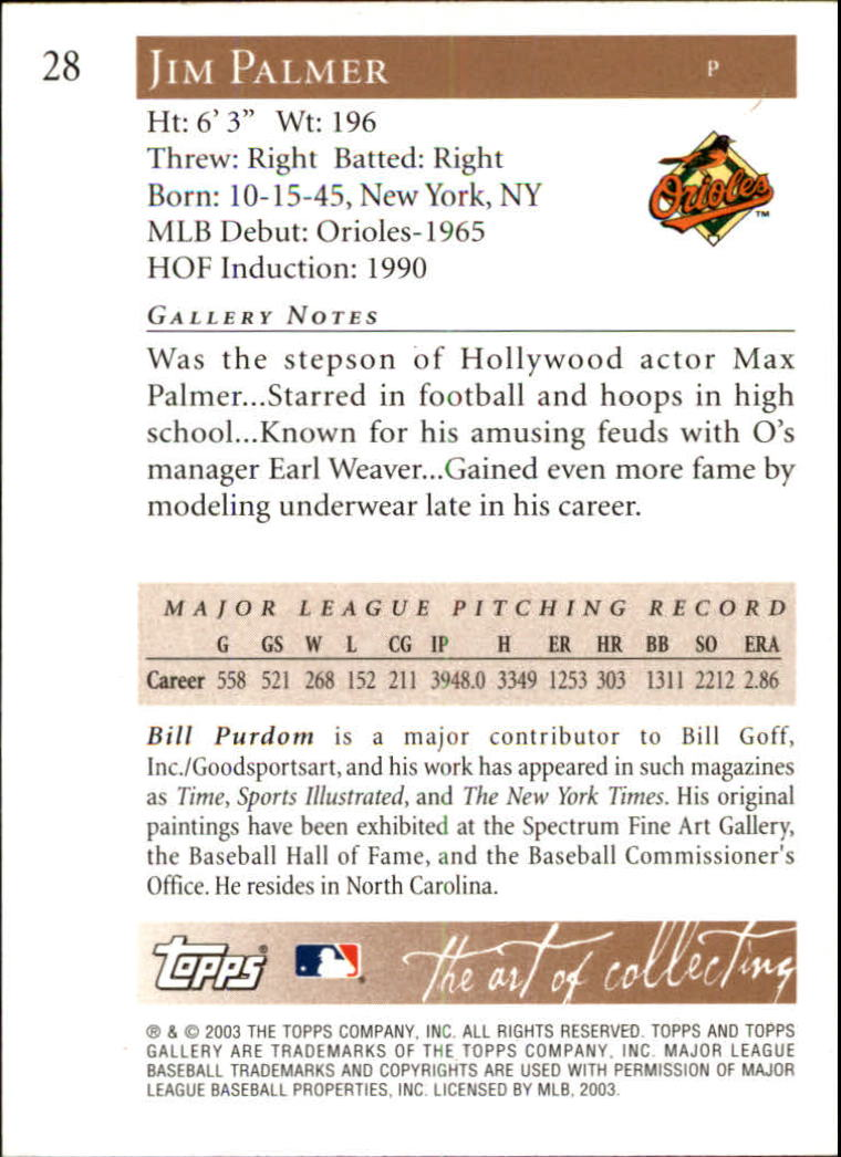 2003 Topps Gallery HOF #28 Jim Palmer White Hat back image