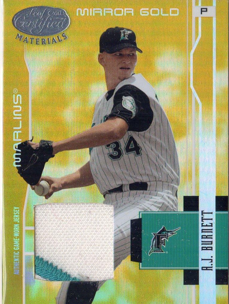 2003 Leaf Certified Materials Mirror Gold Materials #68 A.J. Burnett Jsy