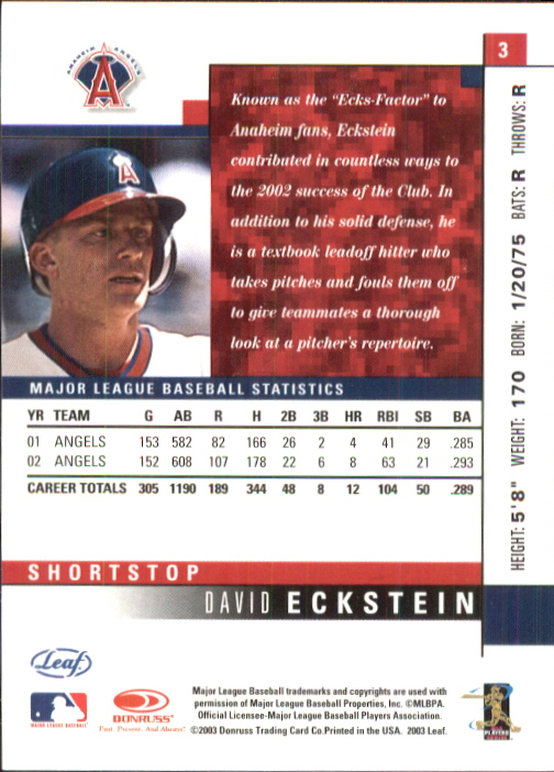 2003 Leaf #3 David Eckstein back image