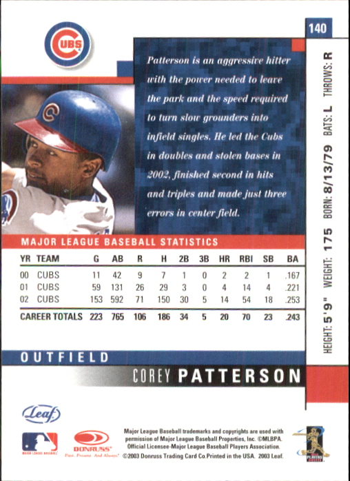 2003 Leaf #140 Corey Patterson back image