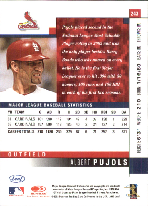 2003 Leaf #243 Albert Pujols back image
