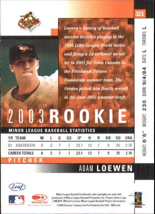 2003 Leaf #323 Adam Loewen ROO RC back image