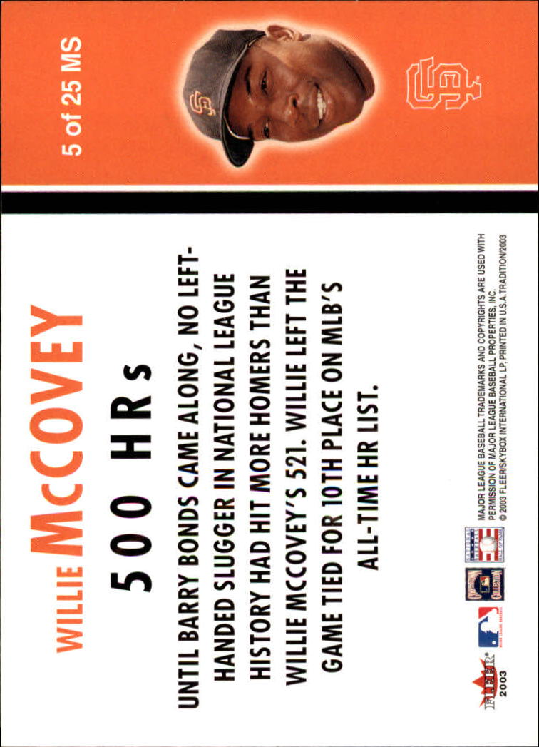 2003 Fleer Tradition Milestones #5 Willie McCovey back image