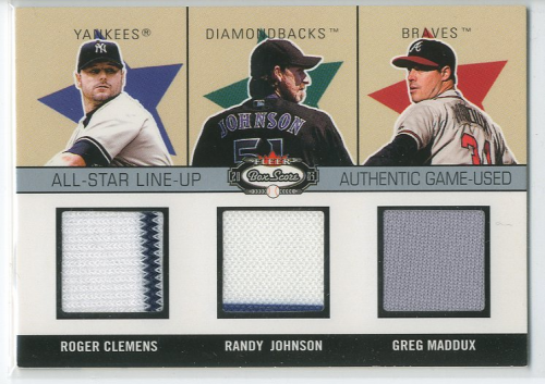 2003 Fleer Box Score All-Star Lineup Game Used #CJM Clemens/R.John/Maddux