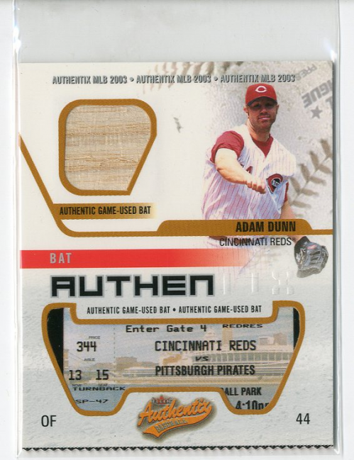 2003 Fleer Authentix Game Bat #AD Adam Dunn