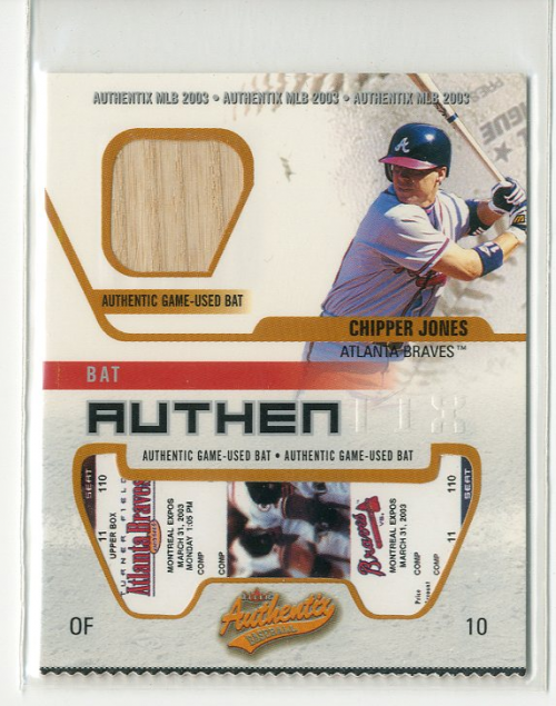 2003 Fleer Authentix Game Bat #CJ Chipper Jones