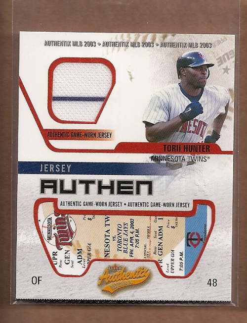 2003 Fleer Authentix Game Jersey #TH Torii Hunter
