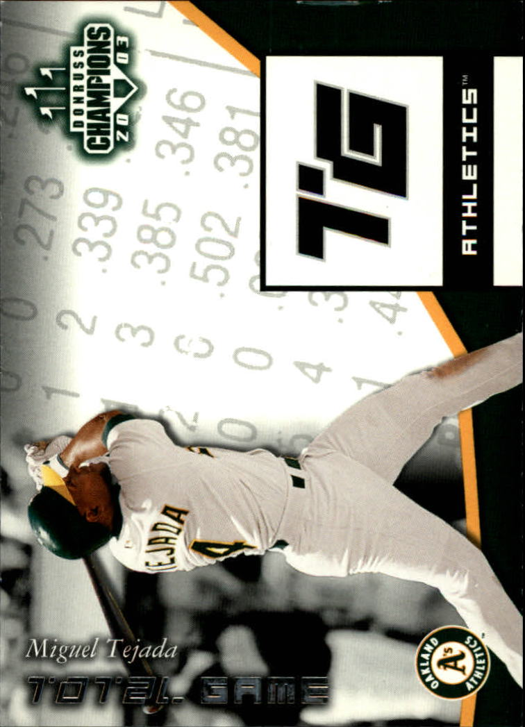 2003 Donruss Champions Total Game #18 Miguel Tejada