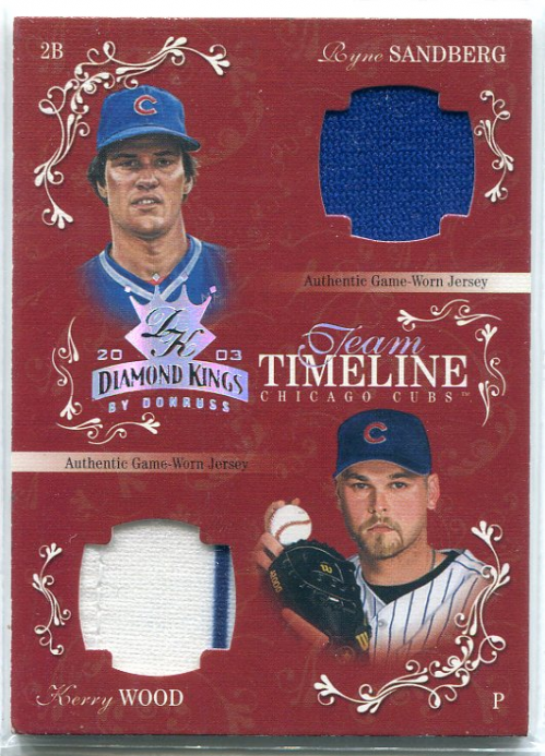 2003 Diamond Kings Team Timeline Jerseys #9 Ryne Sandberg/Kerry Wood