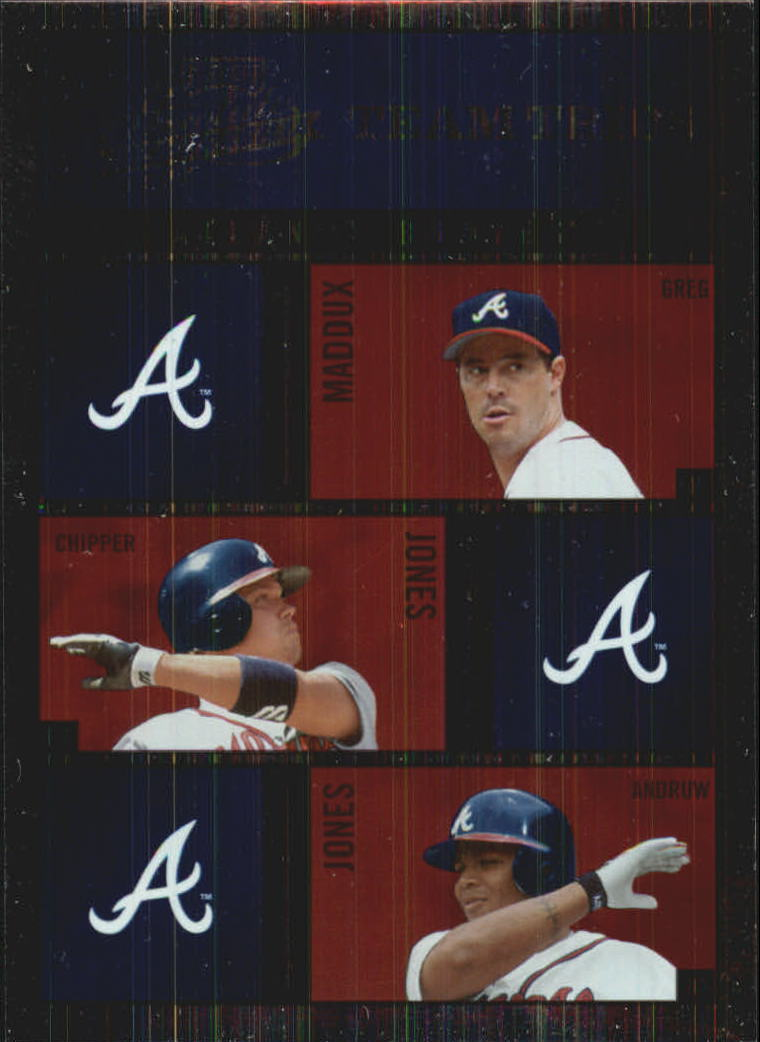 2003 Absolute Memorabilia Team Trios #1 Maddux/Chipper/Andruw