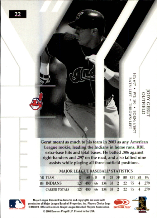 2004 Donruss Elite Extra Edition #22 Jody Gerut back image