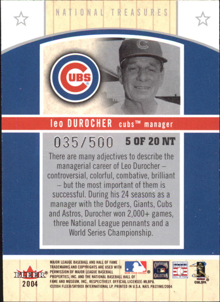 2004 National Pastime National Treasures #5 Leo Durocher back image