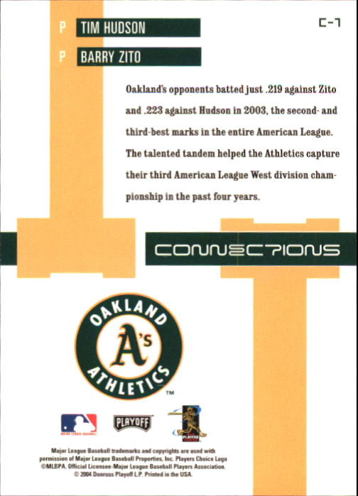2004 Playoff Prestige Connections #7 B.Zito/T.Hudson back image
