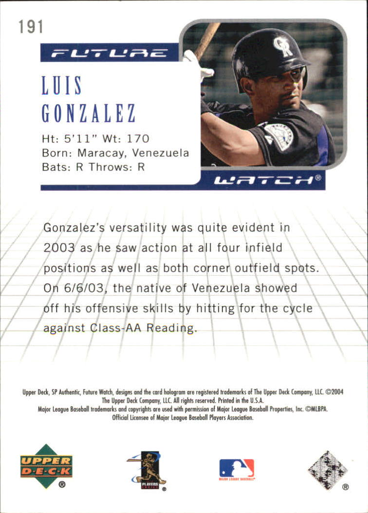 2004 SP Authentic #191 Luis A. Gonzalez FW RC back image