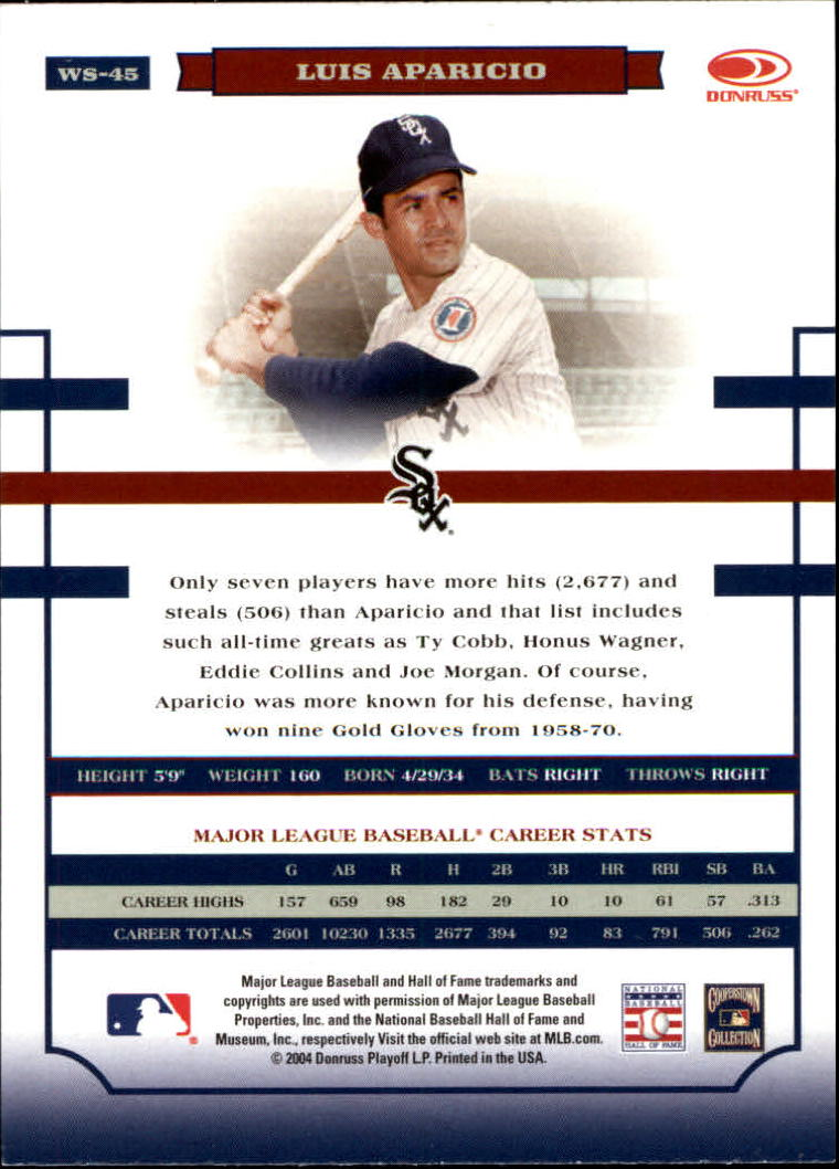 2004 Donruss World Series #45 Luis Aparicio back image