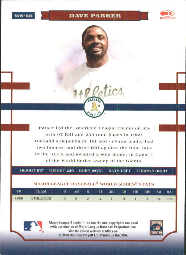 2004 Donruss World Series Blue #56 Dave Parker A's back image