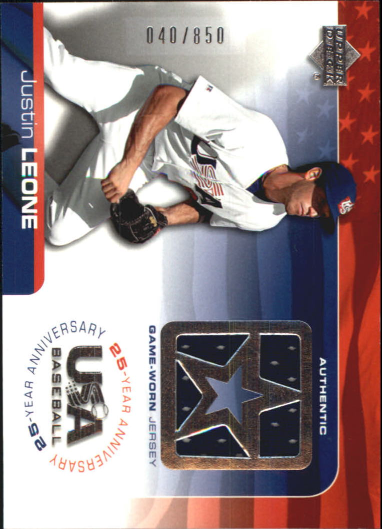 2004 USA Baseball 25th Anniversary Game Jersey #JL Justin Leone/850